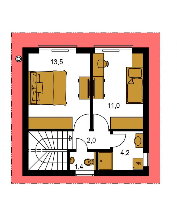 Pôdorys Poschodia - Malý rodinný dom vhodný aj ako rekreačná chata.
