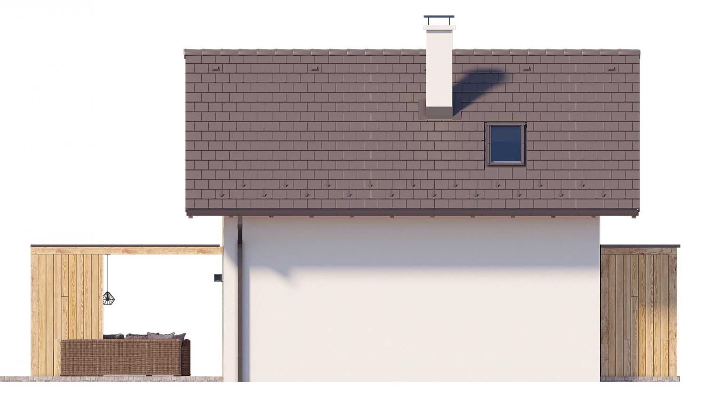 Pohľad 4. - Projekt malého poschodového rodinného domu vhodného aj na rekreáciu.