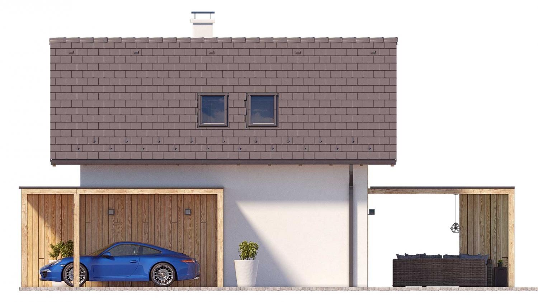 Pohľad 2. - Projekt malého poschodového rodinného domu vhodného aj na rekreáciu.