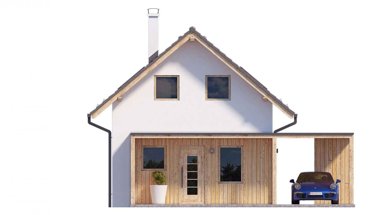 Pohľad 1. - Projekt malého poschodového rodinného domu vhodného aj na rekreáciu.
