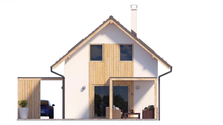 Pohľad 3. - Projekt malého poschodového rodinného domu vhodného aj na rekreáciu.