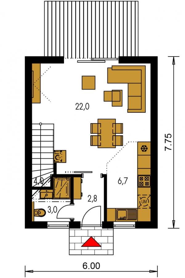 Pôdorys Prízemia - Projekt malého poschodového rodinného domu vhodného aj na rekreáciu.