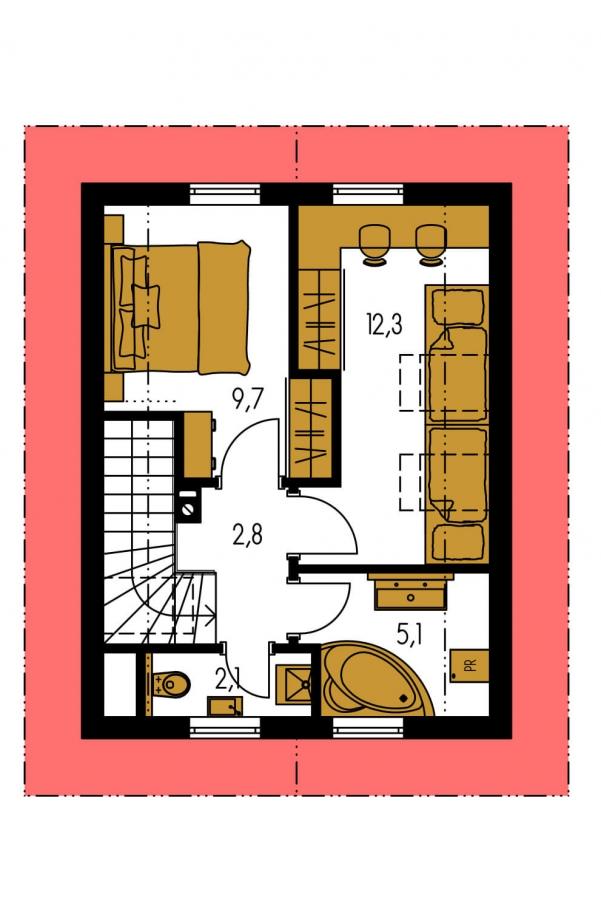 Pôdorys Poschodia - Projekt malého poschodového rodinného domu vhodného aj na rekreáciu.